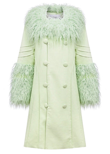 Rent House of Sunny Pistachio Green Vegan Leather and Fur Coat from Rotaro