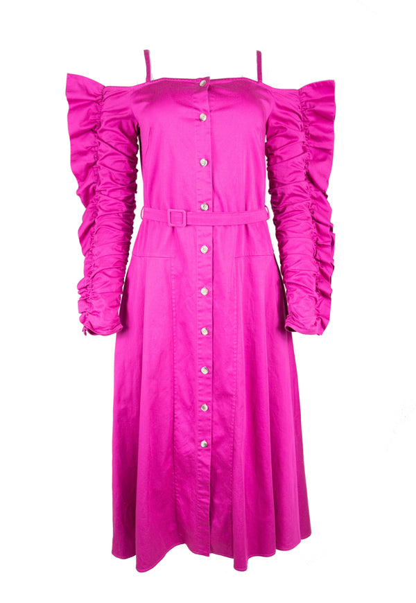 Rent Anna October Pink Ruffle Sleeve Dress from Rotaro