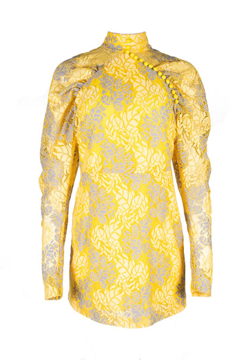 Rent ROTATE Birger Christensen Yellow Lace Long Sleeve Mini Dress from Rotaro