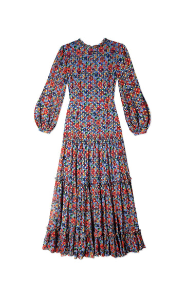 Rent RIXO Blue Floral Embroidery Maxi Dress from Rotaro
