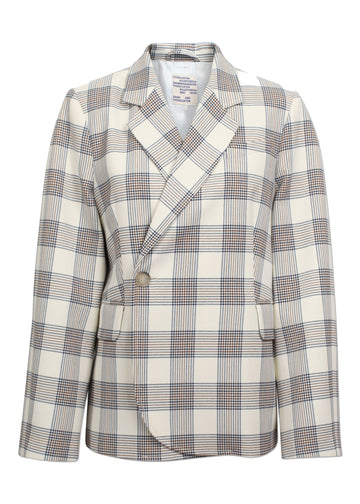 Rent Baum Und Pferdgarten Cream Navy Check Blazer from Rotaro