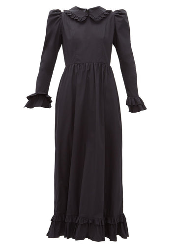 Rent Batsheva Long Black Prairie Cotton Poplin Maxi Dress from Rotaro