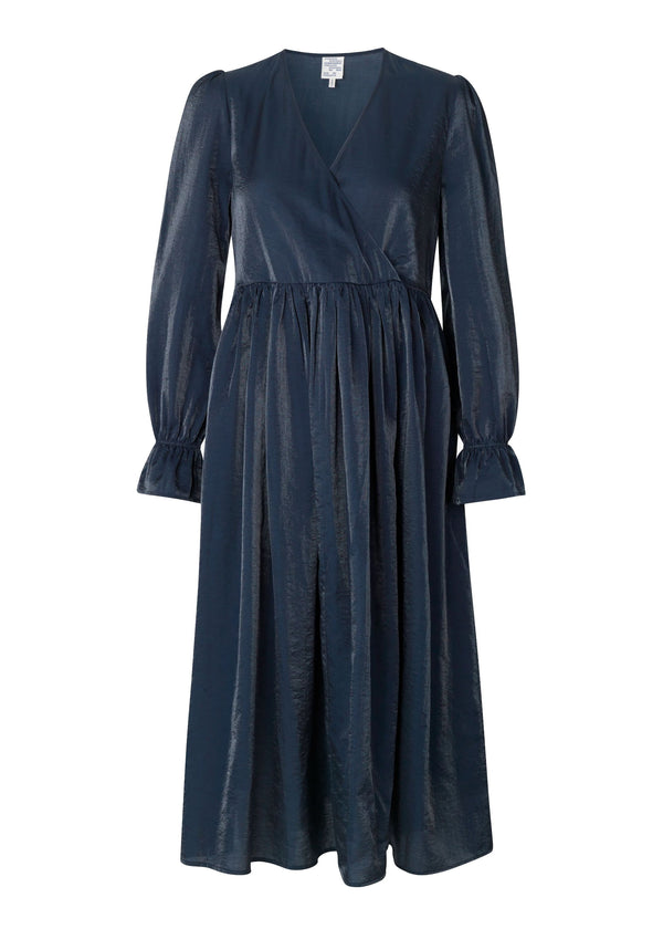 Rent Baum Und Pferdgarten Axelle Blue Midi Wrap Dress from Rotaro