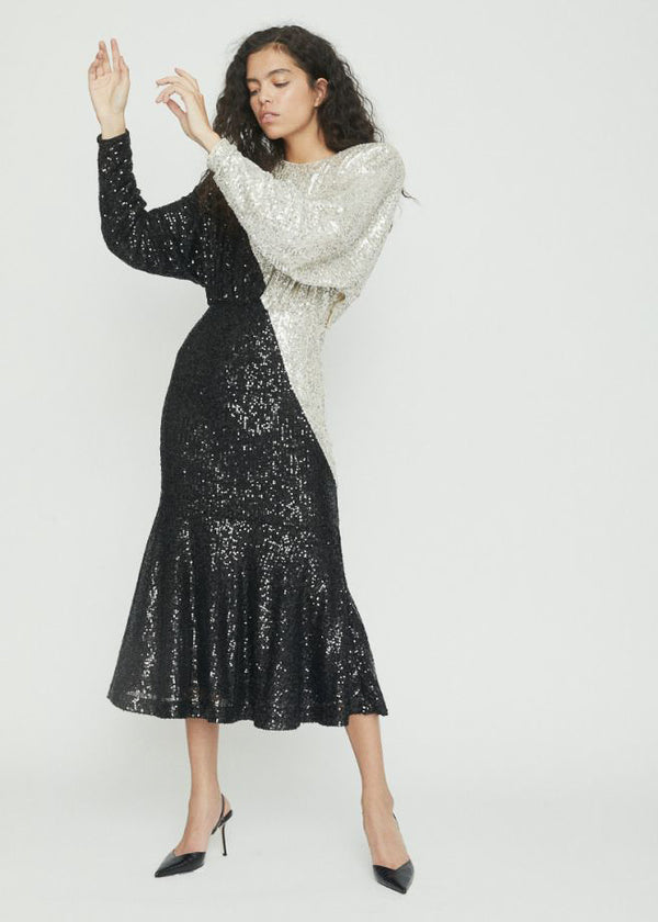 Billie Dress Long In Black and Silver - Rotaro