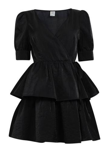 Rent Baum Und Pferdgarten Black Layered Mini Wrap Dress from Rotaro