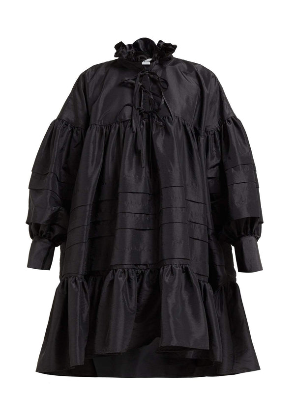 Rent Cecilie Bahnsen Ruffled-Neck Sateen Shirtdress from Rotaro