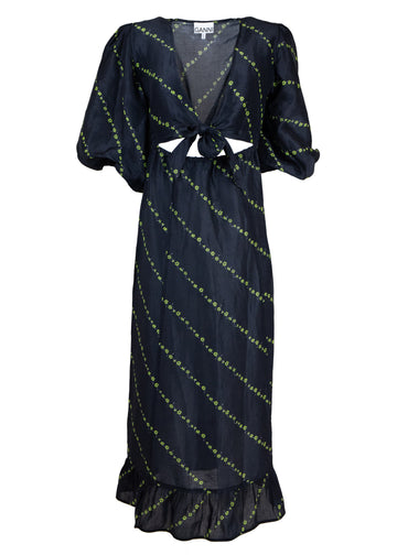 Rent GANNI Black Floral Print Linen Midi Dress from Rotaro