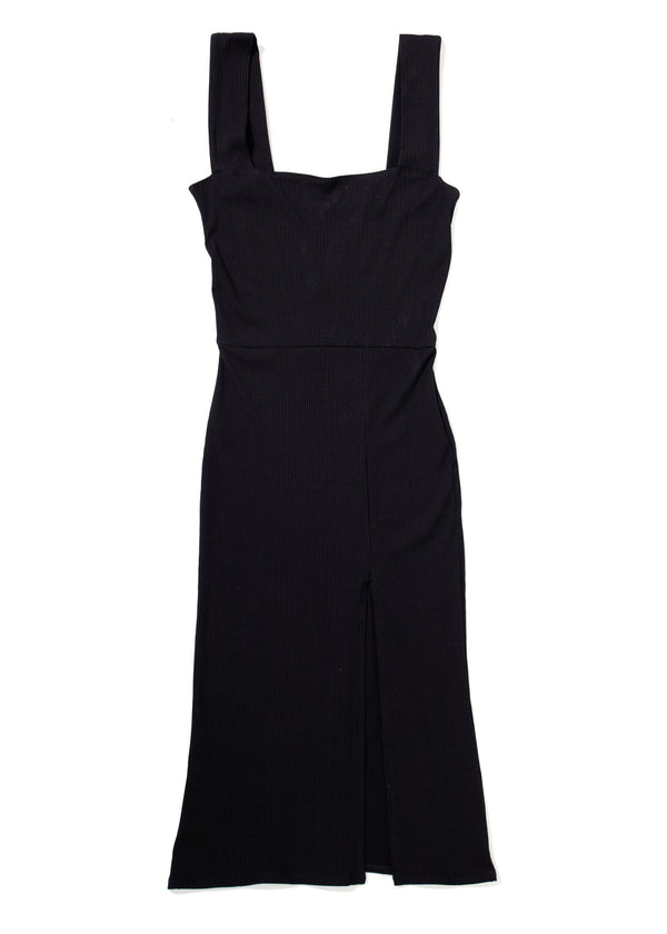 Rent Reformation Black Slit Cassi Square Neckline Dress from Rotaro
