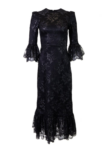 Rent The Vampires Wife Black Lace Midi Dress With Metallic Detail from Rotaro