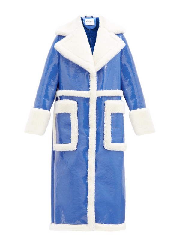 Rent Stand Studio Electric Blue Faux Shearling Coat from Rotaro