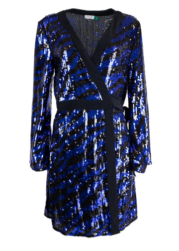 Rent RIXO Blue Tiger Sequin Mini Dress from Rotaro