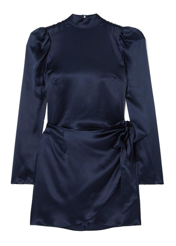Rent Reformation Navy Blue Silk Wrap Mini Dress from Rotaro