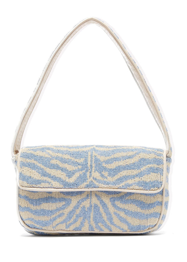 Rent Staud Blue Zebra Beaded Shoulder Bag from Rotaro