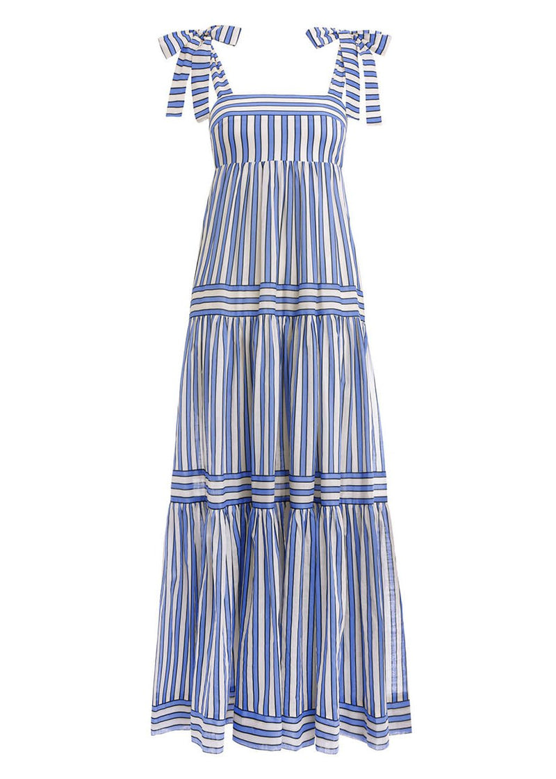 Rent Zimmermann Blue And White Striped Cotton Tiered Maxi Dress from Rotaro