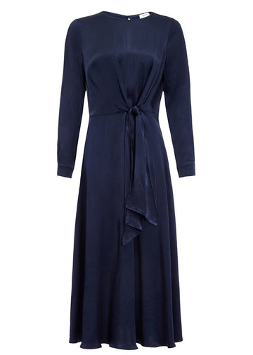 Rent Ghost Navy Satin Long Sleeved Satin Midi Dress from Rotaro