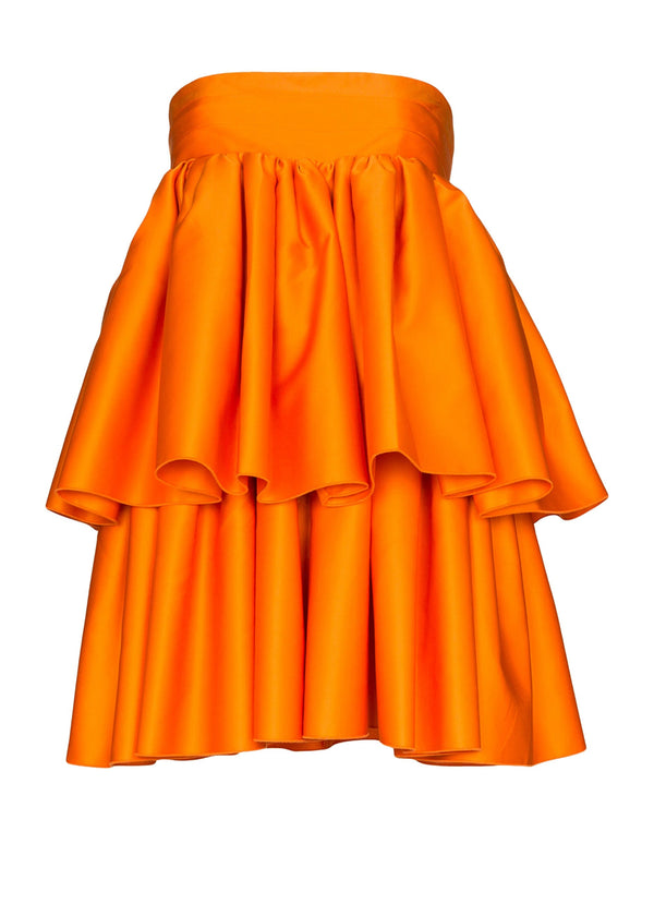 Rent ROTATE Birger Christensen Orange Carmina Strapless Layered Mini Dress from Rotaro