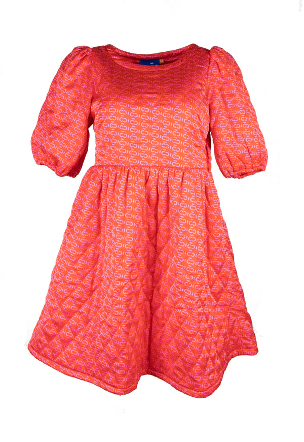 Rent Cras Quilted Orange Knee-length Dress from Rotaro