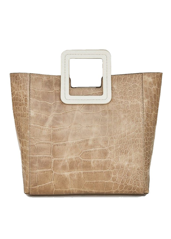 Rent Staud Tan Croc Embellished Tote Bag from Rotaro