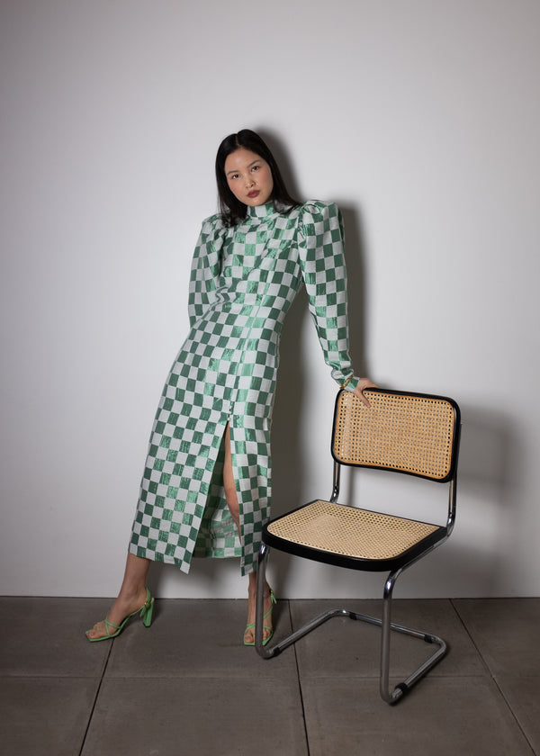Rent ROTATE Birger Christensen Green Theresa Checked Jacquard Midi Dress from Rotaro