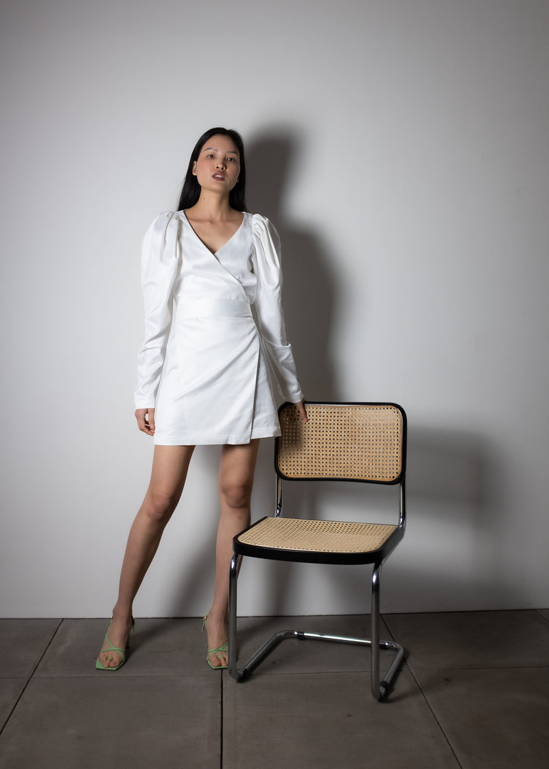 Rent ROTATE Birger Christensen White Gathered Satin Mini Dress from Rotaro