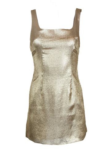 Rent De La Vali Gold Metallic Mini Dress from Rotaro