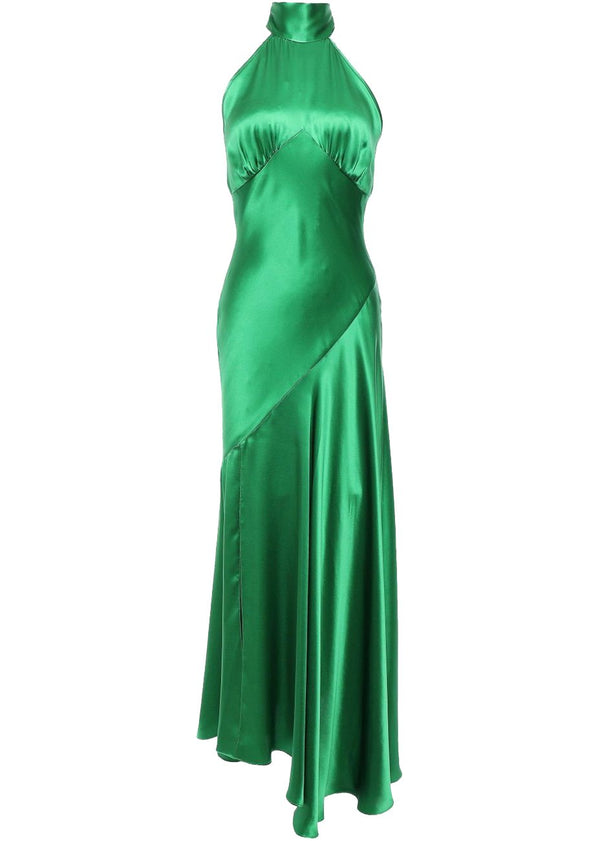 Rent De La Vali Green Silk Satin Maxi Gown from Rotaro