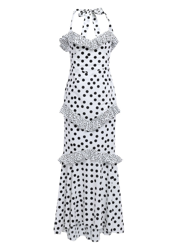 Rent De La Vali Halter Neck Polka Dot Ruffle Maxi Dress from Rotaro