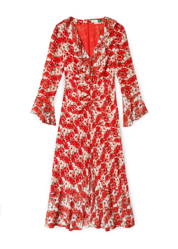 Rent RIXO Floral Long Sleeve Ruffle Sleeve Midi Dress from Rotaro