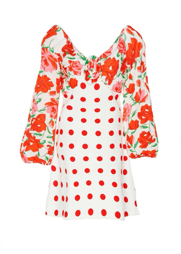 Rent RIXO Long Sleeve Flower Polka Dot Mini Dress from Rotaro