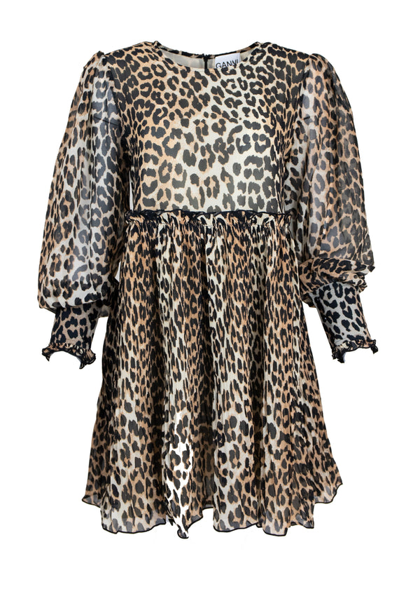 Rent GANNI Leopard Print Georgette Mini Dress from Rotaro