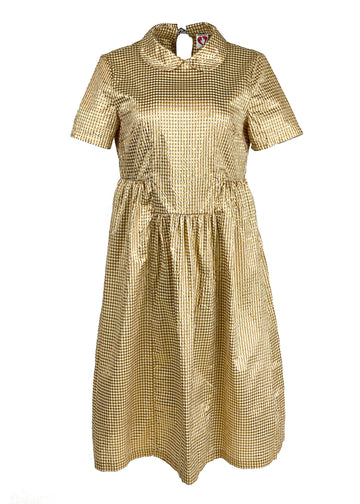 Rent Shrimps Gold Gingham Midi Dress from Rotaro