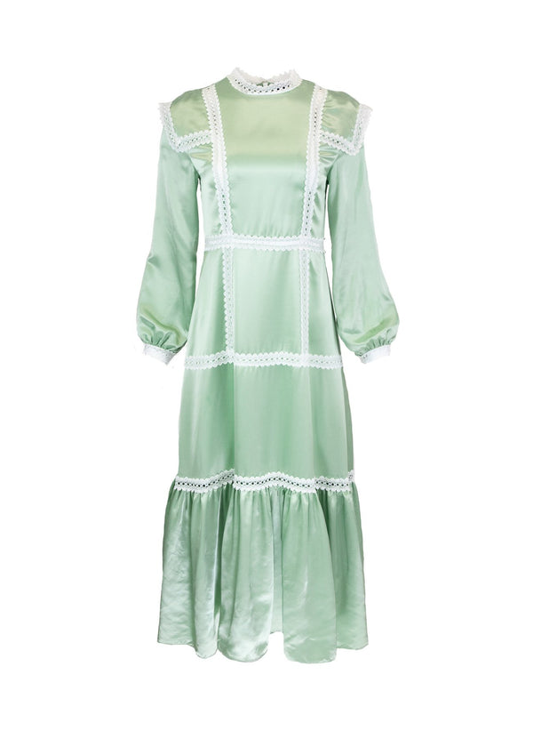 Rent Sister Jane Mint Lace Satin Midi Dress from Rotaro