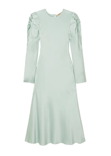 Rent Maggie Marilyn Mint Knot Shoulder Satin Maxi Dress from Rotaro