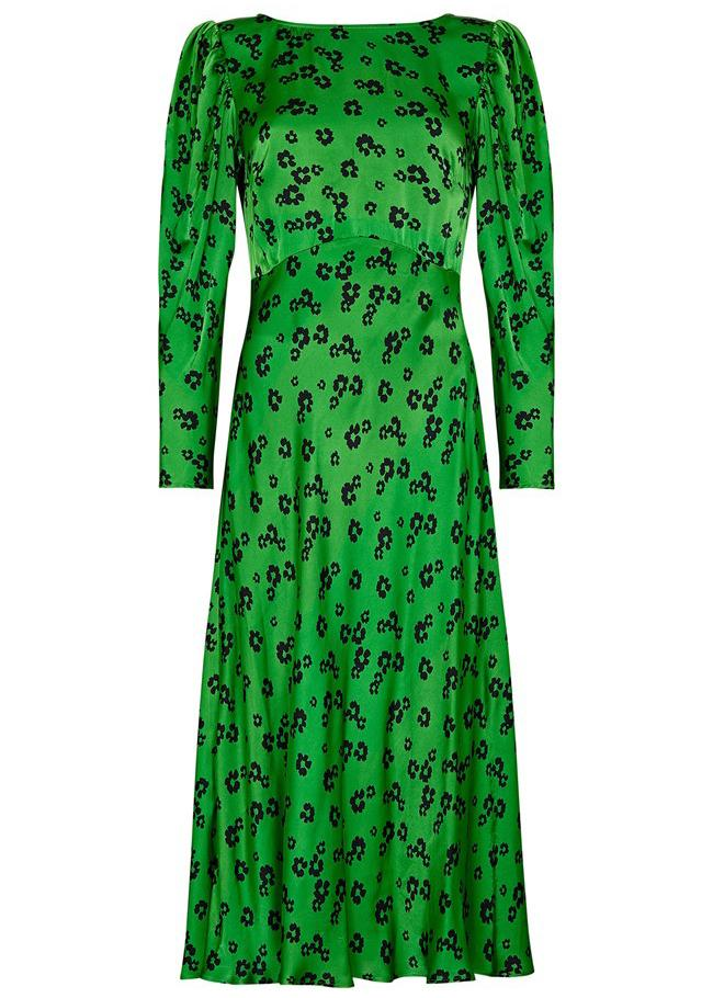 Rent Ghost Daisy Print Green Satin Midi Dress from Rotaro