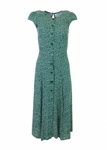 Rent Reformation Green Floral Crepe Midi Dress from Rotaro