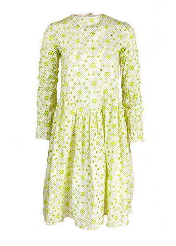 Rent Shrimps Green & White Embroidered Midi Dress from Rotaro