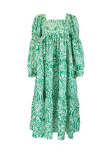Rent Ghospell Green Wave Pattern Tie Back Midi Dress from Rotaro