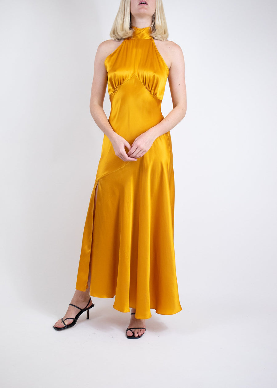 Rent De La Vali Orange Halter Neck Satin Gown from Rotaro