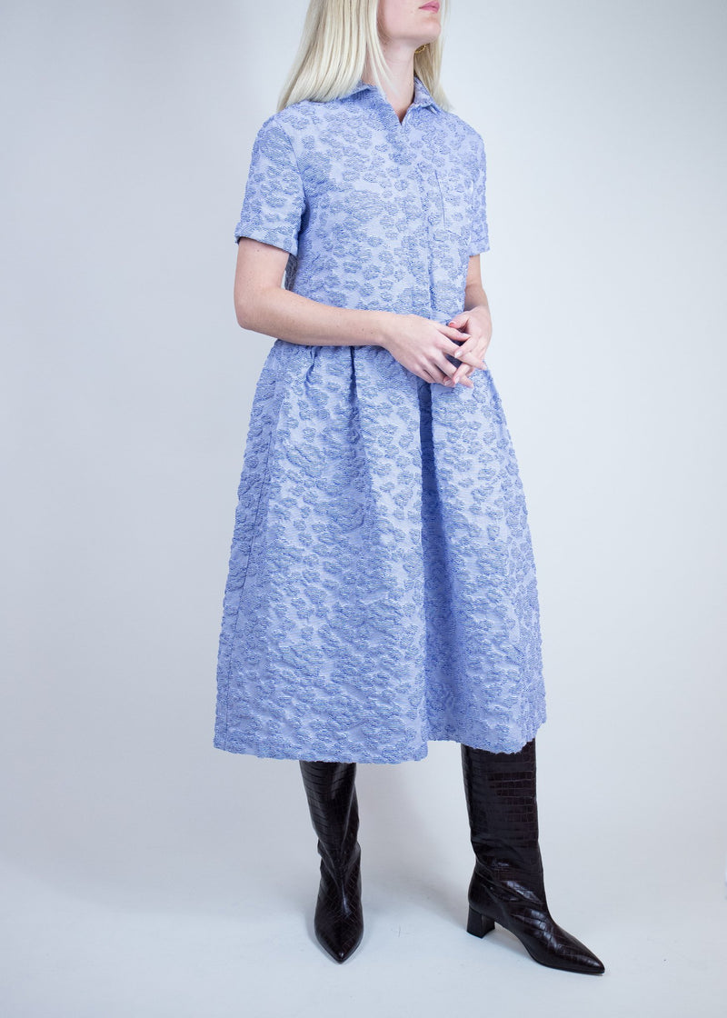 Rent Shrimps Blue Embroidered Midi Dress from Rotaro