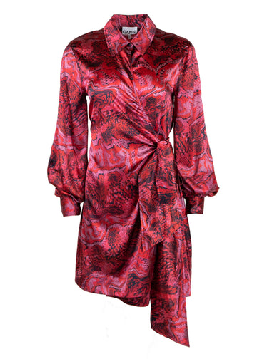 Rent GANNI Red Print Belted Silk Mini Wrap Dress from Rotaro