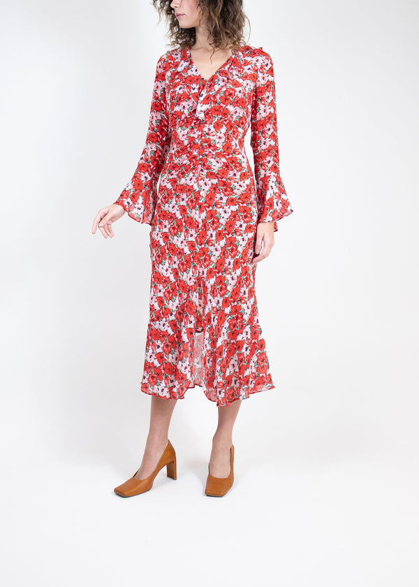 Rent RIXO Floral Ruffle Midi Dress from Rotaro