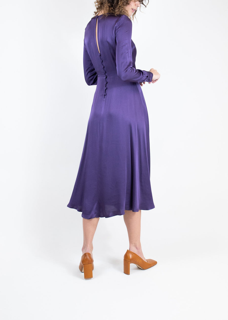 Rent Ghost Purple Satin Long Sleeve Midi Dress from Rotaro