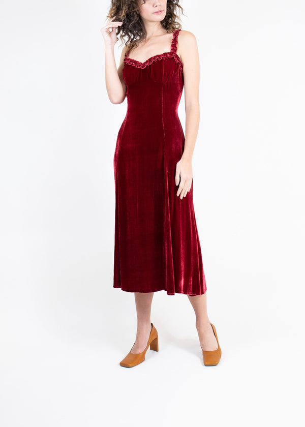 Rent Reformation Maroon Velvet Ruffle strap Midi Gown from Rotaro