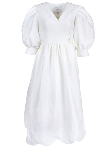 Rent Dream Sister Jane White Full-Volume Wrap Dress from Rotaro
