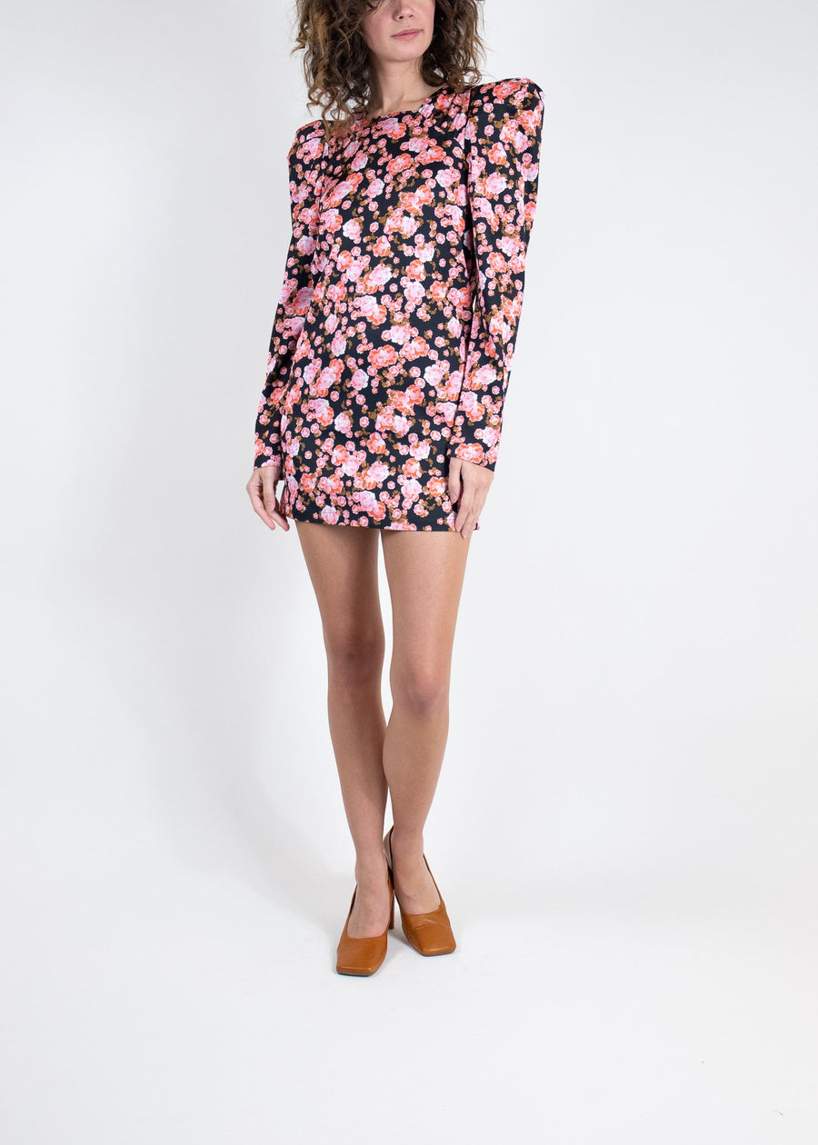Rent Cras Long Sleeve Puff Shoulder Floral Mini Dress from Rotaro