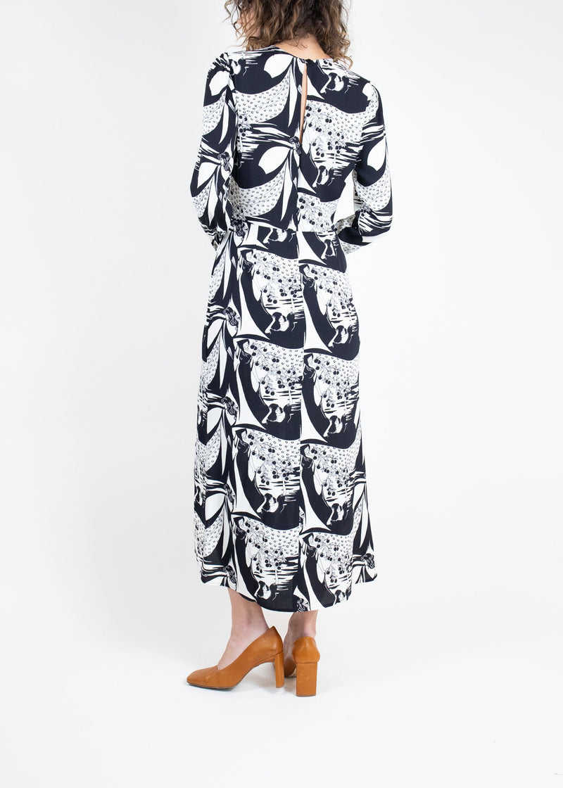 Rent Reformation Black and White Print Long Sleeve Dress from Rotaro