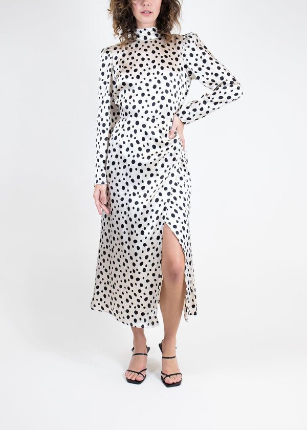 Rent Reformation Long Sleeve Silk Polka Dot Dress from Rotaro