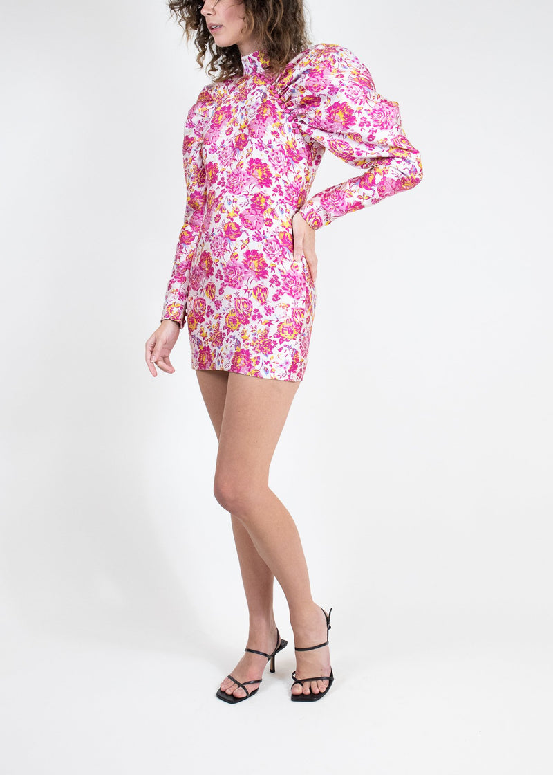 Rent ROTATE Birger Christensen Pink Floral Puff Sleeve Mini from Rotaro