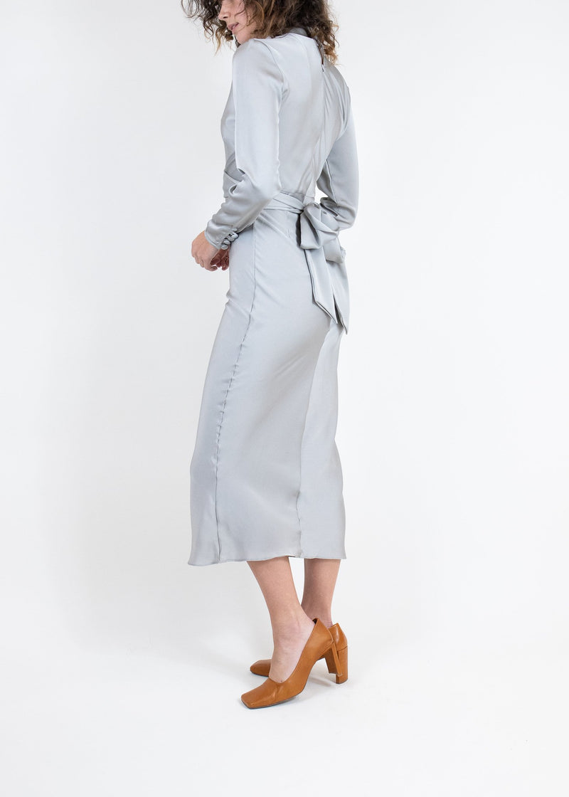 Rent The Line By K Grey Belted Satin Midi Dress from Rotaro