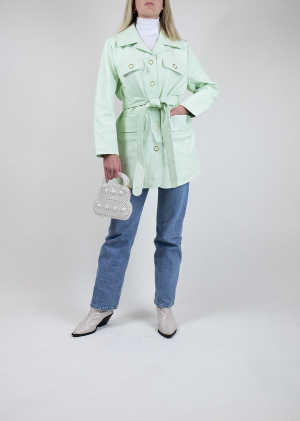 Rent House of Sunny Mint Belted Vegan Leather Jacket from Rotaro